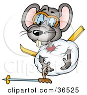 Clipart Illustration Of A Clumsy Mouse Rolled Up In A Ball Of Snow Trying To Get Up