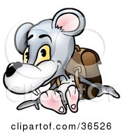 Gray Mouse Student Wearing A Backpack
