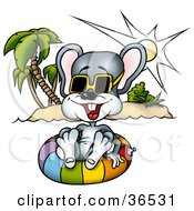 Clipart Illustration Of A Happy Vacationing Mouse Floating On An Inner Tube In Hawaii by dero