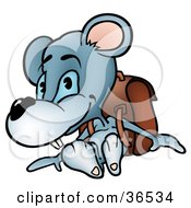Blue Mouse Student Wearing A Backpack