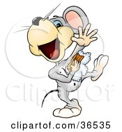 Clipart Illustration Of A Clean Gray Mouse Dancing In The Shower And Using A Sponge To Clean His Under Arms by dero