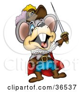 Clipart Illustration Of A Dramatic Mouse Holding Up A Sword