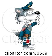 Clipart Illustration Of A Gray Wolf Police Officer Directing Traffic