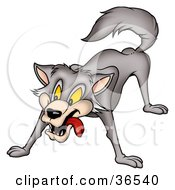 Clipart Illustration Of A Gray Wolf In A Protective Stance by dero #COLLC36540-0053