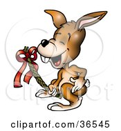 Clipart Illustration Of A Brown Bunny Holding A Wicker Easter Branch by dero