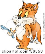 Clipart Illustration Of A Hungry Orange Squirrel Holding A Spoon