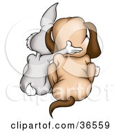 Clipart Illustration Of A Gray Rabbit And Dog Huddled Together As Seen From Behind