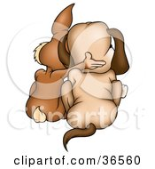 Clipart Illustration Of A Brown Rabbit And Dog Huddled Together As Seen From Behind