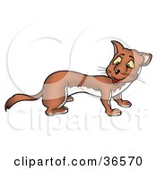 Clipart Illustration Of A Friendly Brown Weasel Looking Back Over His Shoulder by dero