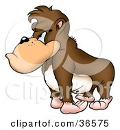 Clipart Illustration Of A Grumpy Brown Gorilla With A Bad Attitude Facing Left #36575 by dero