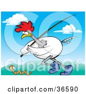 Clipart Illustration Of A White Rooster Running With A Fishing Pole Chasing A Worm