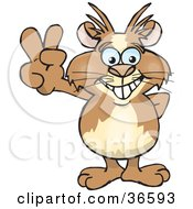 Clipart Illustration Of A Peaceful Guinea Pig Smiling And Gesturing The Peace Sign With His Hand