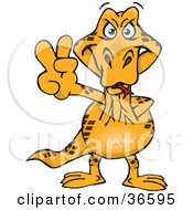 Clipart Illustration Of A Peaceful Goanna Smiling And Gesturing The Peace Sign With His Hand by Dennis Holmes Designs