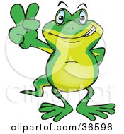 Clipart Illustration Of A Peaceful Gecko Smiling And Gesturing The Peace Sign With His Hand