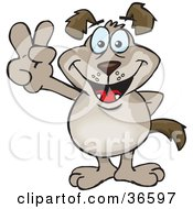 Clipart Illustration Of A Peaceful Light Brown Dog Smiling And Gesturing The Peace Sign With His Hand