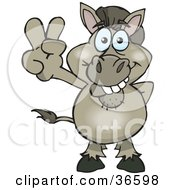 Clipart Illustration Of A Peaceful Donkey Smiling And Gesturing The Peace Sign With His Hand by Dennis Holmes Designs