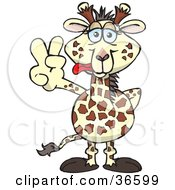 Peaceful Giraffe Smiling And Gesturing The Peace Sign With His Hand