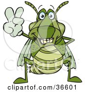 Clipart Illustration Of A Peaceful Grasshopper Smiling And Gesturing The Peace Sign With His Hand by Dennis Holmes Designs