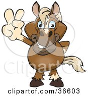 Clipart Illustration Of A Peaceful Horse Smiling And Gesturing The Peace Sign With His Hand