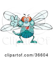 Clipart Illustration Of A Peaceful Dragonfly Smiling And Gesturing The Peace Sign With His Hand