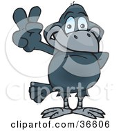 Clipart Illustration Of A Peaceful Crow Smiling And Gesturing The Peace Sign With His Hand