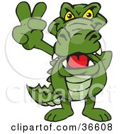Clipart Illustration Of A Peaceful Alligator Smiling And Gesturing The Peace Sign With His Hand
