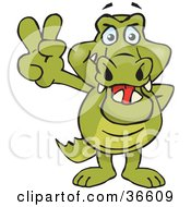 Clipart Illustration Of A Peaceful Crocodile Smiling And Gesturing The Peace Sign With His Hand by Dennis Holmes Designs