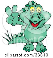 Peaceful Green Stegosaur Dinosaur Smiling And Gesturing The Peace Sign With His Hand