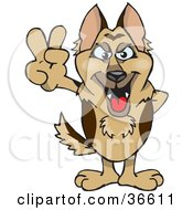 Peaceful German Shepherd Dog Smiling And Gesturing The Peace Sign With His Hand