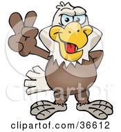 Clipart Illustration Of A Peaceful Bald Eagle Smiling And Gesturing The Peace Sign With His Hand