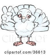 Clipart Illustration Of A Peaceful Dove Smiling And Gesturing The Peace Sign With His Hand