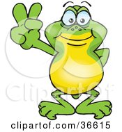 Clipart Illustration Of A Peaceful Frog Smiling And Gesturing The Peace Sign With His Hand by Dennis Holmes Designs