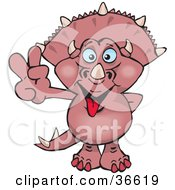 Clipart Illustration Of A Peaceful Pink Triceratops Dinosaur Smiling And Gesturing The Peace Sign With His Hand by Dennis Holmes Designs