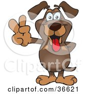 Clipart Illustration Of A Peaceful Dachshund Dog Smiling And Gesturing The Peace Sign With His Hand