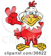 Clipart Illustration Of A Peaceful Hen Smiling And Gesturing The Peace Sign With His Hand by Dennis Holmes Designs