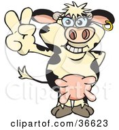 Peaceful Dairy Cow Smiling And Gesturing The Peace Sign With His Hand