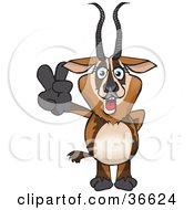Clipart Illustration Of A Peaceful Gazelle Smiling And Gesturing The Peace Sign With His Hand by Dennis Holmes Designs