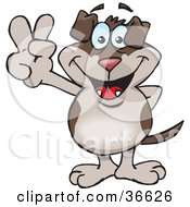 Clipart Illustration Of A Peaceful Canine Smiling And Gesturing The Peace Sign With His Hand by Dennis Holmes Designs