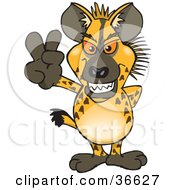 Clipart Illustration Of A Peaceful Hyena Smiling And Gesturing The Peace Sign With His Hand by Dennis Holmes Designs