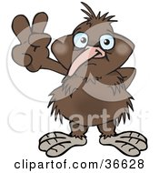 Clipart Illustration Of A Peaceful Kiwi Bird Smiling And Gesturing The Peace Sign With His Hand by Dennis Holmes Designs