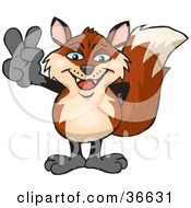 Clipart Illustration Of A Peaceful Fox Smiling And Gesturing The Peace Sign With His Hand by Dennis Holmes Designs