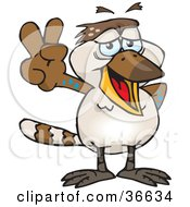 Clipart Illustration Of A Peaceful Kookaburra Bird Smiling And Gesturing The Peace Sign With His Hand by Dennis Holmes Designs