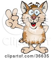 Clipart Illustration Of A Peaceful Hamster Smiling And Gesturing The Peace Sign With His Hand by Dennis Holmes Designs