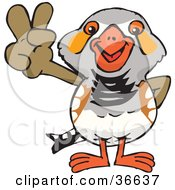 Clipart Illustration Of A Peaceful Zebra Finch Bird Smiling And Gesturing The Peace Sign With His Hand