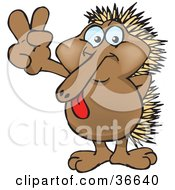 Clipart Illustration Of A Peaceful Echidna Smiling And Gesturing The Peace Sign With His Hand by Dennis Holmes Designs