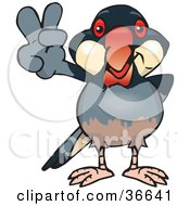 Clipart Illustration Of A Peaceful Java Finch Bird Smiling And Gesturing The Peace Sign With His Hand