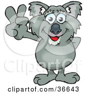 Clipart Illustration Of A Peaceful Koala Smiling And Gesturing The Peace Sign With His Hand