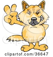 Clipart Illustration Of A Peaceful Dingo Dog Smiling And Gesturing The Peace Sign With His Hand