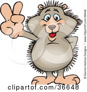 Clipart Illustration Of A Peaceful Hedgehog Smiling And Gesturing The Peace Sign With His Hand