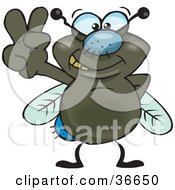 Clipart Illustration Of A Peaceful Fly Smiling And Gesturing The Peace Sign With His Hand